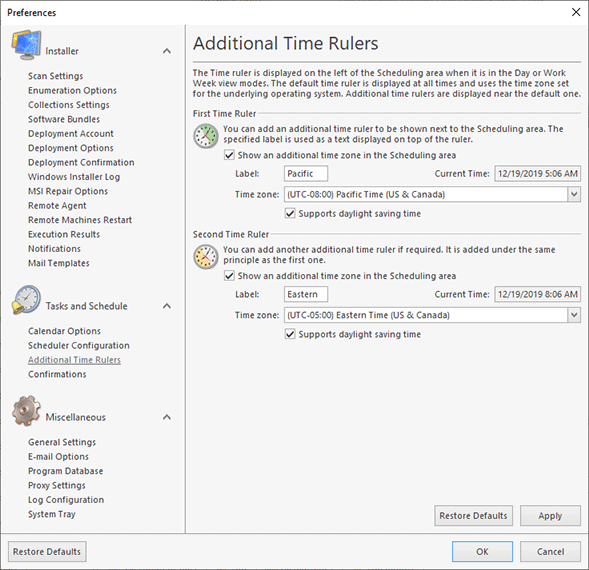 Configuring additional time rulers