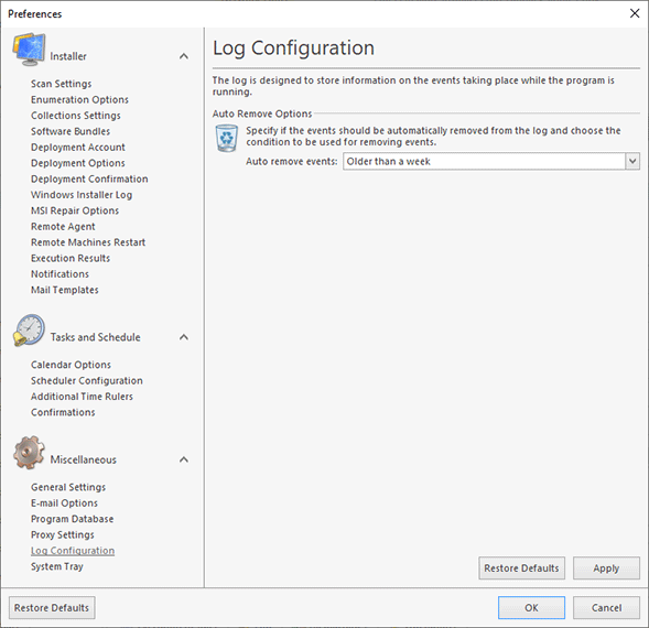 The Application Log configuration