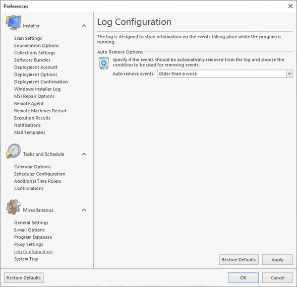The Application Log configuration