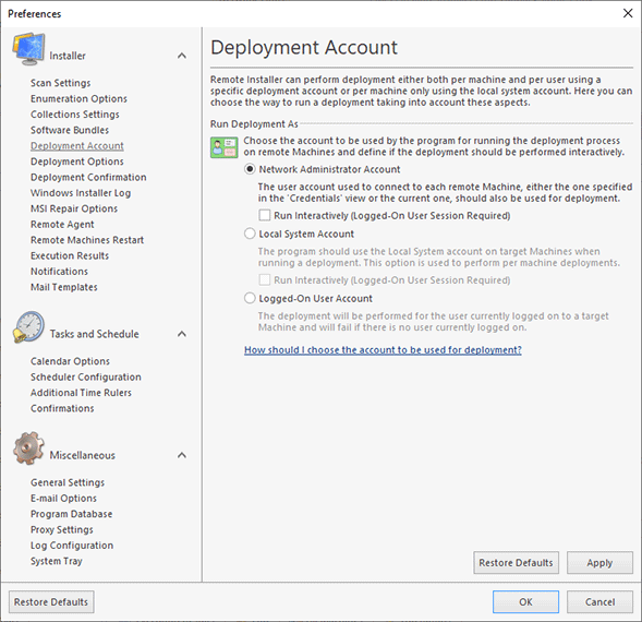 A sample deployment account settings configuration