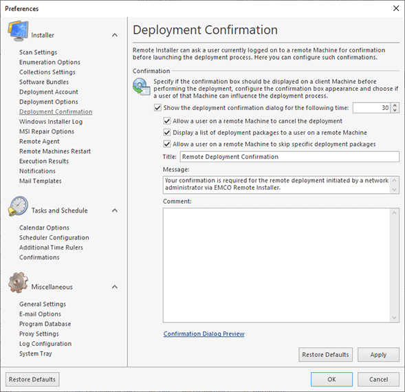 Configuring the deployment confirmation options