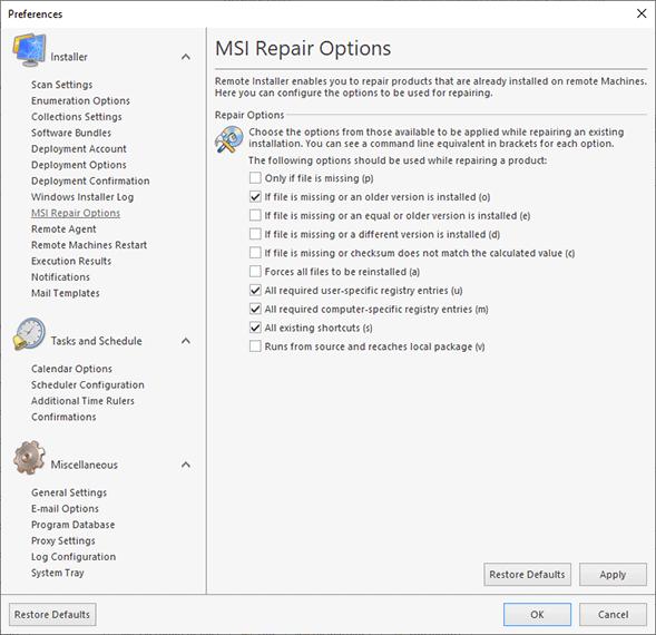 Configuring the MSI repair options
