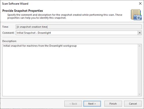 Specifying the snapshot properties