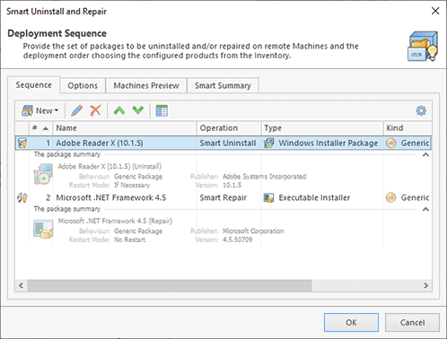 Configuring smart uninstall and repair