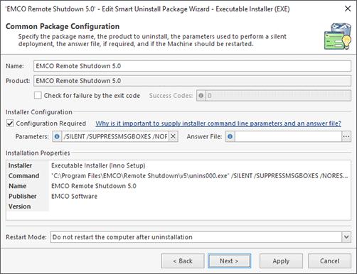 Executable Installer Configuration