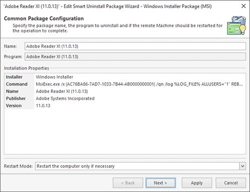 Windows Installer Package Configuration