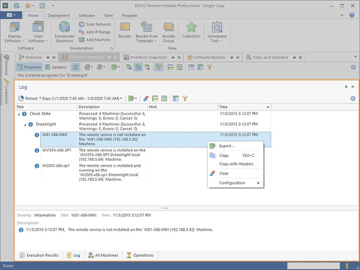 The Application Log view