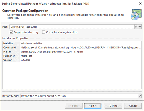 Windows Installer Package Configuration