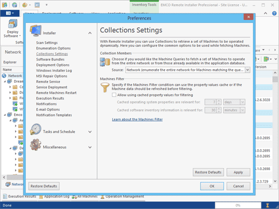 Collections settings