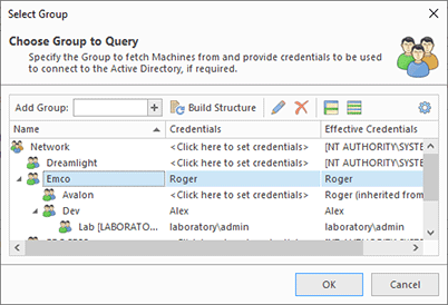 Providing credentials to connect to Active Directory
