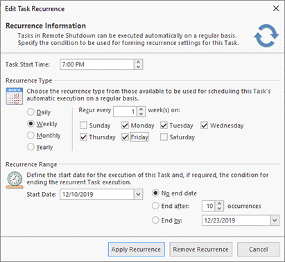 Task recurrence options