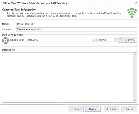 Scheduling a Wake on LAN task