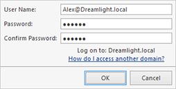 Providing the specific domain credentials