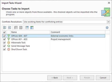 Choosing Tasks to import