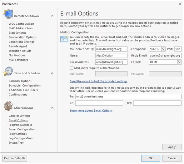 Configuring a mailbox