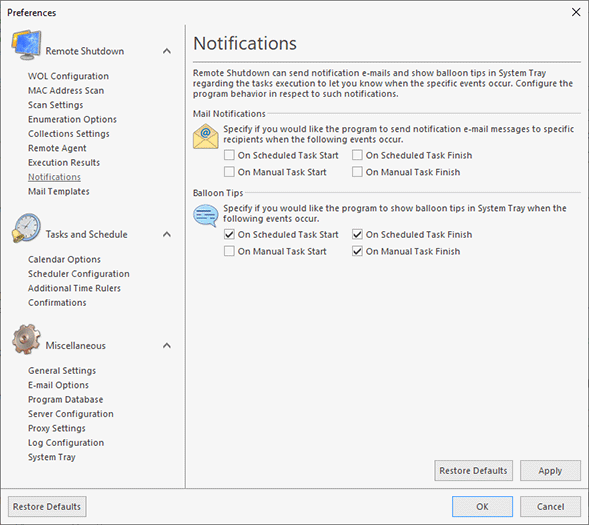Configuring notifications