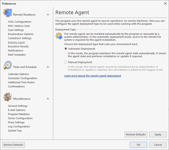Choosing the remote agent deployment type