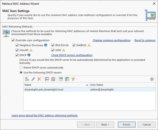 Configuring a MAC address scan operation