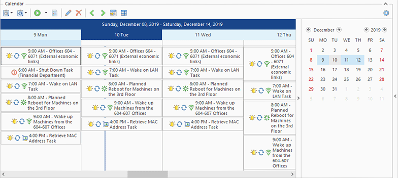 The Scheduling area in the Time Line View