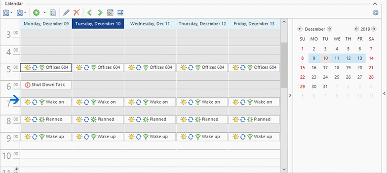 The Scheduling area in the Work Week View