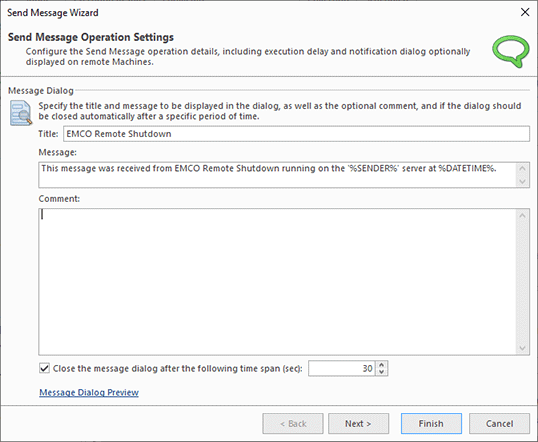 Configuring a Send Message operation